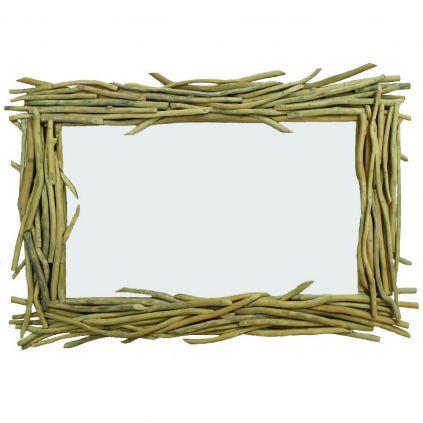 Miroir bois flotté teck BRANCHE rectangulaire
