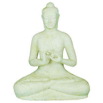 Statue bouddha lotus h120cm BUDDHA GRC blanc crème