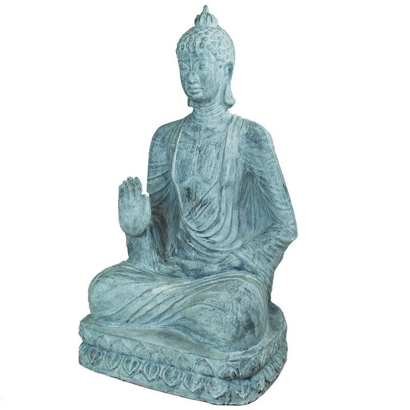 statue bouddha exterieur lotus gris h120cm. Black Bedroom Furniture Sets. Home Design Ideas