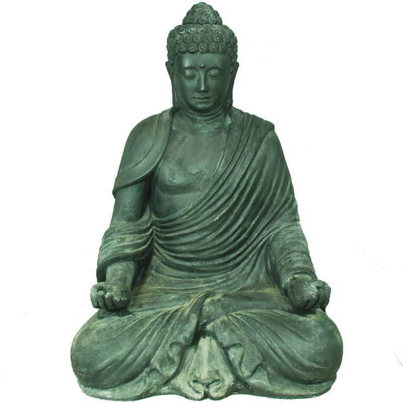 statue bouddha exterieur zen h110cm noir pierre. Black Bedroom Furniture Sets. Home Design Ideas