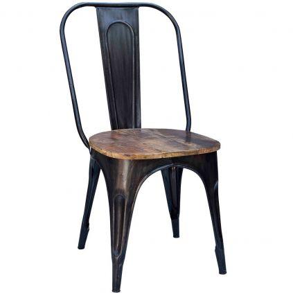 Chaise industrielle métal et bois IRON 4 couleurs