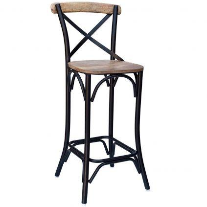 Chaise haute bois et métal IRON 4 couleurs