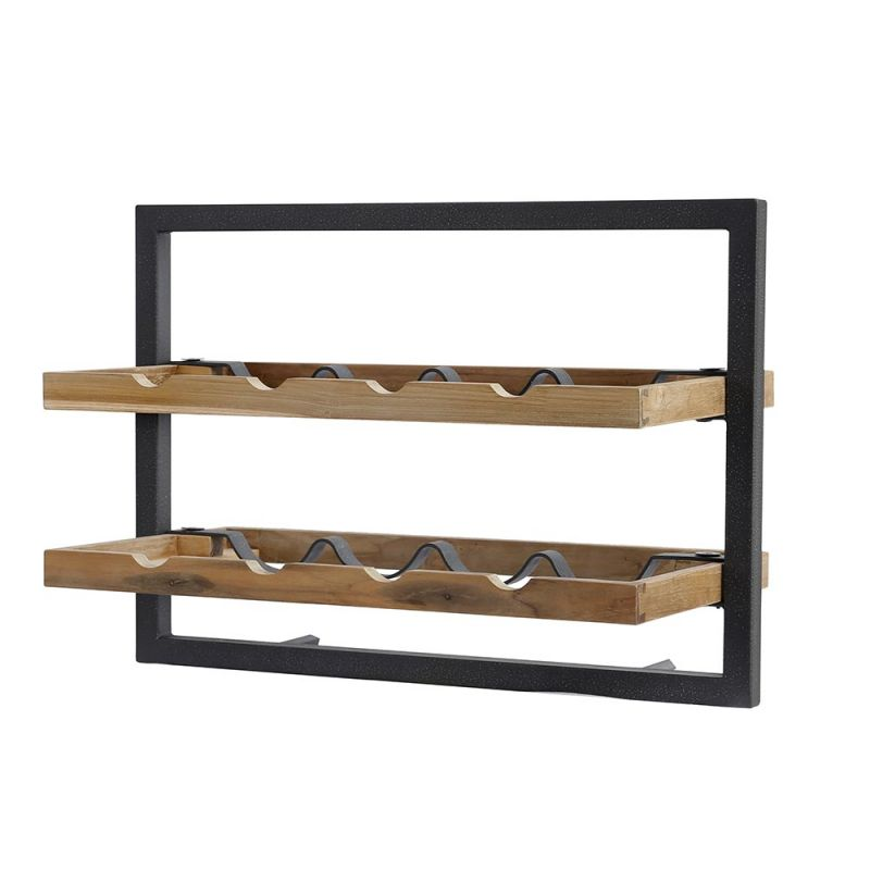 etag re vin murale rack bouteilles en teck et en m tal recycl s 50cm b. Black Bedroom Furniture Sets. Home Design Ideas