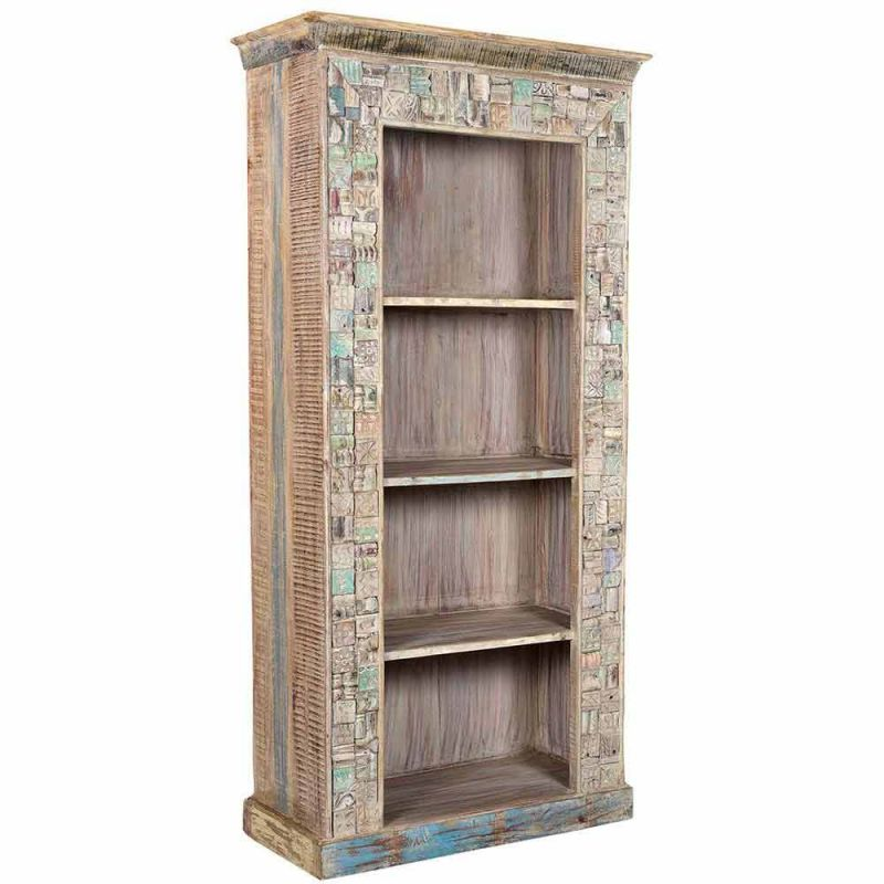 biblioth que indienne en vieux bois mosaique frise 91cm. Black Bedroom Furniture Sets. Home Design Ideas