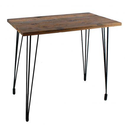 Table haute bois recyclé VINTAGE pieds métal