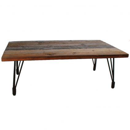 Table basse bois recyclé VINTAGE pieds métal
