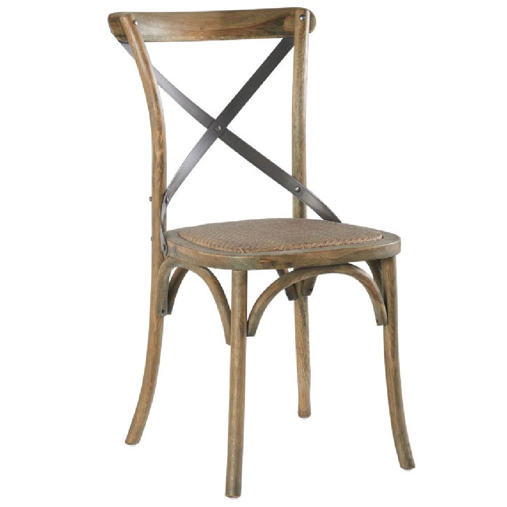 Chaise Style Bistrot En Fer Et Chene Patine