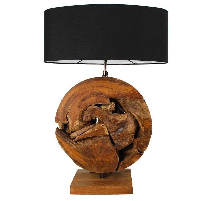 Lampe ronde bois flott racine de teck et abat jour noir - Meuble bois flotte ...