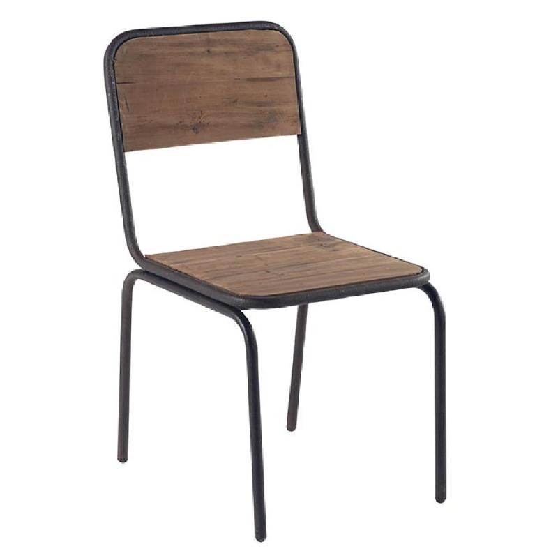 Chaise Metal Vintage En Sapin Recycle Et Fer Style Ecolier