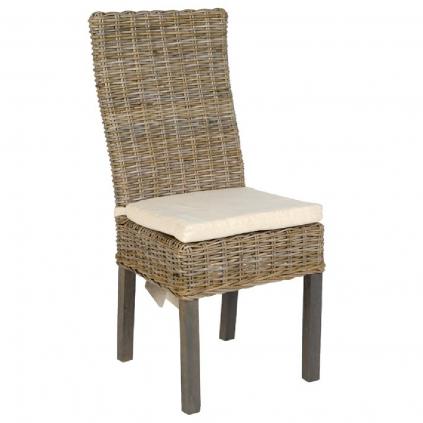 Chaise rotin tressé RATTAN avec coussin d'assise