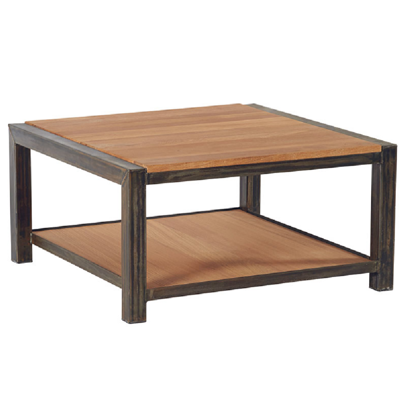 Table basse carr e industrielle ch ne et m tal loft 80cm for Table basse carree industrielle