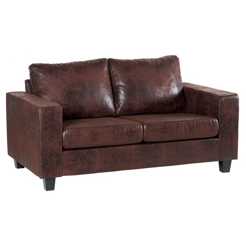 Canapé 2 places moderne en tissu gris ou marron 159cm