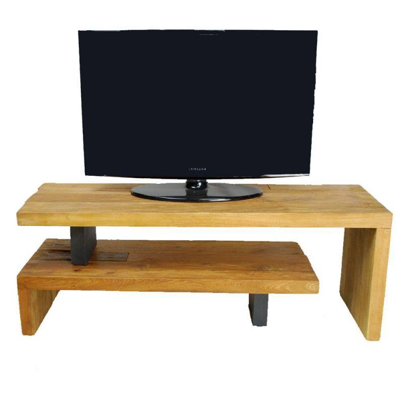 Meuble Tv Extensible Bois Massif Et Metal Celebes 120cm
