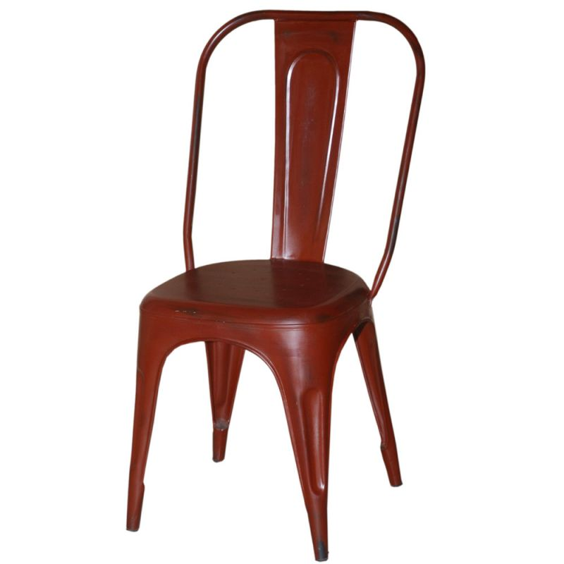 Chaise Industrielle Metal IRON Rouge