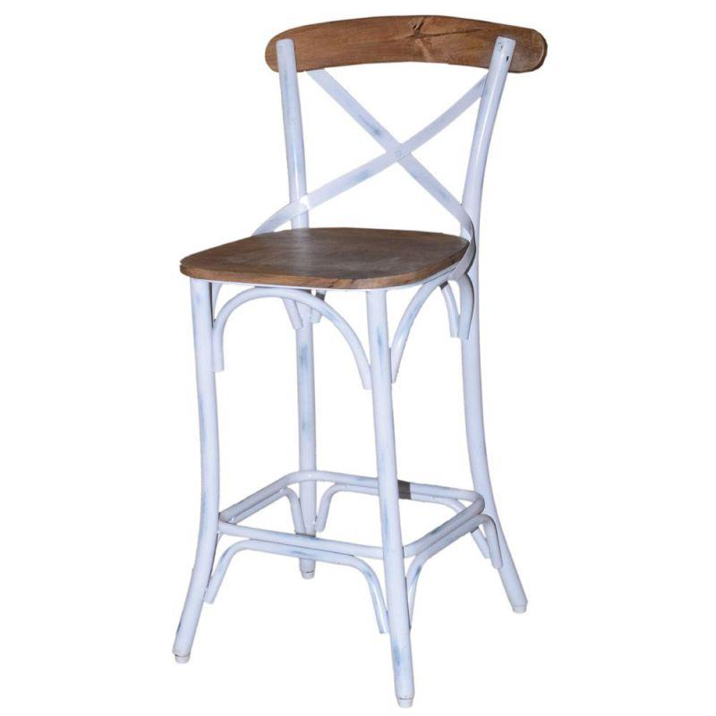 Chaise snack metal et bois hauteur 65cm 4 couleurs