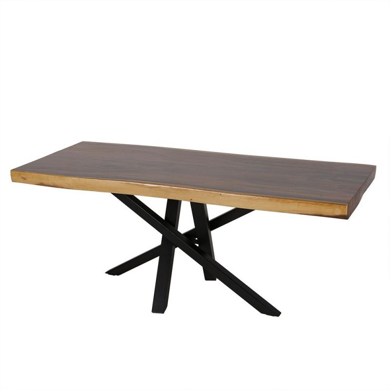 Table Tronc Arbre Bois Exotique En Suar Massif Pieds Metal Design