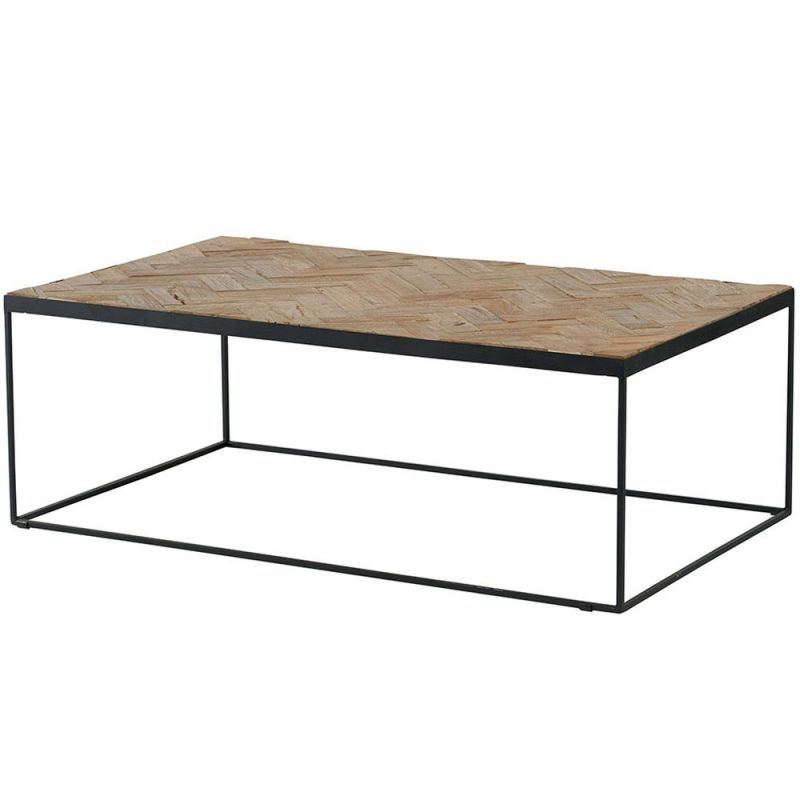 Teck Recyclé Chevrons Mosaique Rectangulaire 115cm Table Basse nNw0vmO8