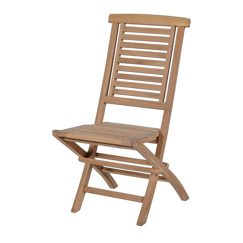 Chaise en teck pliante, brute ou huilée, lattage vertical