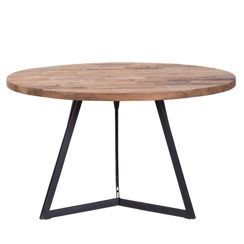 Table Industrielle Bois Metal Ronde Teck Massif Recycle O130cm
