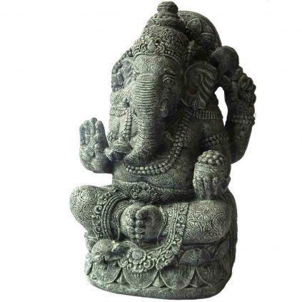 Statue GRC ganesh assis vert brossé BUDDHA h100cm